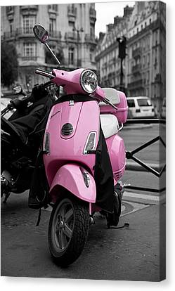 Vespa In Pink Canvas Print