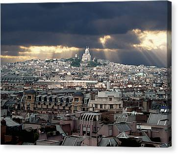 Vue De La Butte Montmartre.roofs Of Paris Canvas Print by Bernard Jaubert