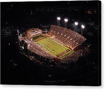 Wake Forest Aerial View Of Bb And T Field Canvas Print by John Grogan