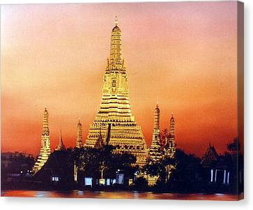 Canvas Print featuring the painting Wat  Aroon by Chonkhet Phanwichien