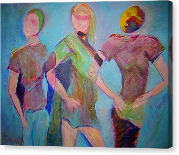 Canvas Print featuring the painting We Three by Mary Schiros