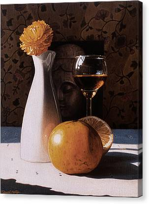 White Vase And Grapefruits Canvas Print by Daniel Montoya