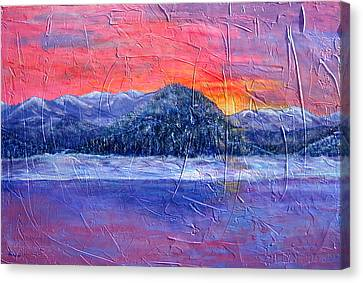 Winter Sunset Canvas Print by Sandy Hemmer
