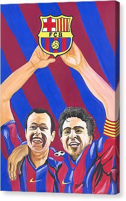 Canvas Print featuring the painting Xavi And Iniesta by Emmanuel Baliyanga