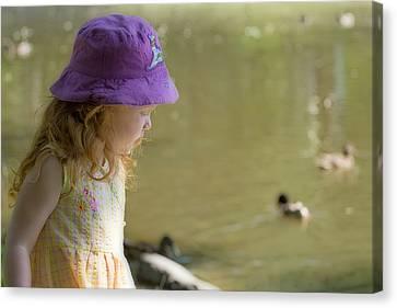 Young Girl Bird Watching Canvas Print