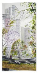 Central Park Stroll Bath Towel by Clara Sue Beym