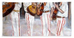 Hand Towel featuring the painting Mariachi  Musicians by Carole Spandau