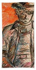 Hand Towel featuring the painting Boy In Red by Cathie Richardson