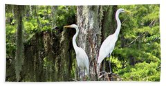 Great White Egrets Bath Towel