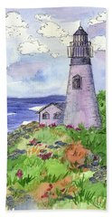 Hand Towel featuring the painting Lighthouse In Summer  by Cathie Richardson