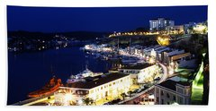 Hand Towel featuring the photograph Mahon Harbour At Night by Pedro Cardona