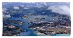 Pearl Harbor Aerial View Hand Towel by Dan McManus