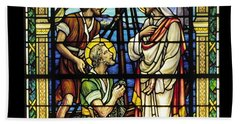 Saints Peter And Andrew With Christ  Hand Towel