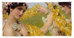 When Flowers Return Hand Towel by Sir Lawrence Alma-Tadema