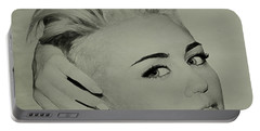 Portable Battery Charger featuring the drawing Miley Cyrus  by Brian Reaves