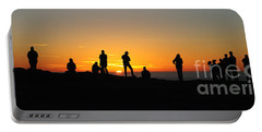 Portable Battery Charger featuring the photograph Panorama Everyone Likes A Sunset by Vivian Christopher