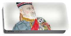 Portable Battery Charger featuring the painting A Scottish Soldier by Yoshiko Mishina