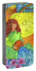 Portable Battery Charger featuring the painting Aquarius by Cathie Richardson