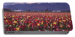 Field Of Tulips And Mount Baker Portable Battery Charger