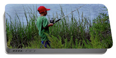 Fishing At Hickory Mound Portable Battery Charger