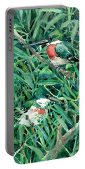 Green Kingfishers In The Grass Portable Battery Charger