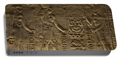 Hieroglyph At Edfu Portable Battery Charger by Darcy Michaelchuk