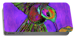 Hummingbird On Purple Portable Battery Charger
