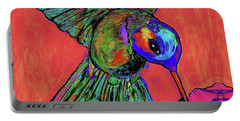 Hummingbird On Red Portable Battery Charger