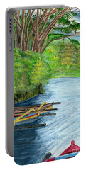 Portable Battery Charger featuring the painting Lake Bratan Boats Bali Indonesia by Melly Terpening