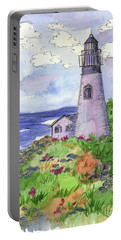Portable Battery Charger featuring the painting Lighthouse In Summer  by Cathie Richardson