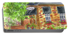 Portable Battery Charger featuring the painting Lila's Cafe by Cathie Richardson