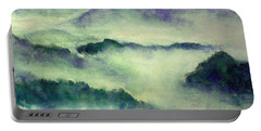 Portable Battery Charger featuring the painting Mountain Oriental Style by Yoshiko Mishina