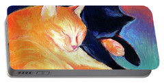 Orange And Black Tabby Cats Sleeping Portable Battery Charger