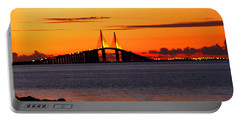 Sunset Over The Skyway Bridge Portable Battery Charger