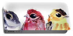 Portable Battery Charger featuring the painting Three Little Birds by Dawn Derman