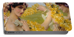 When Flowers Return Portable Battery Charger by Sir Lawrence Alma-Tadema