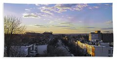 Beach Towel featuring the photograph Sunset Row Homes by Brian Wallace