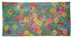 A Field Of Flowers Beach Sheet by John Keaton