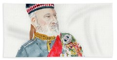 Beach Towel featuring the painting A Scottish Soldier by Yoshiko Mishina