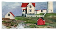 Cape Neddic Lighthouse  Beach Towel