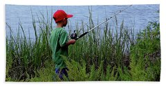 Fishing At Hickory Mound Beach Towel