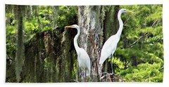 Great White Egrets Beach Towel