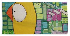 Beach Towel featuring the painting Heading West by Donna Howard