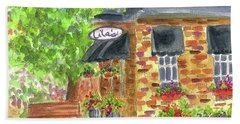 Beach Sheet featuring the painting Lila's Cafe by Cathie Richardson