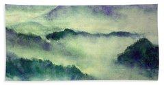Beach Sheet featuring the painting Mountain Oriental Style by Yoshiko Mishina