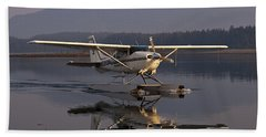 Reflections Of A Float Plane Beach Towel by Darcy Michaelchuk