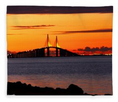 Sunset Over The Skyway Bridge Fleece Blanket
