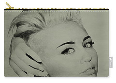 Carry-all Pouch featuring the drawing Miley Cyrus  by Brian Reaves