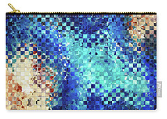 Carry-all Pouch featuring the painting Blue Abstract Art - Pieces 2 - Sharon Cummings by Sharon Cummings
