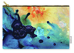 Carry-all Pouch featuring the painting Colorful Abstract Art - Blue Waters - Sharon Cummings by Sharon Cummings